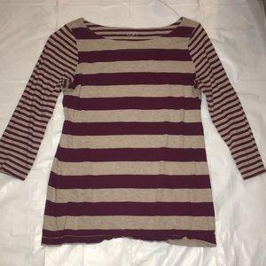 Maroon and cream striped shirt